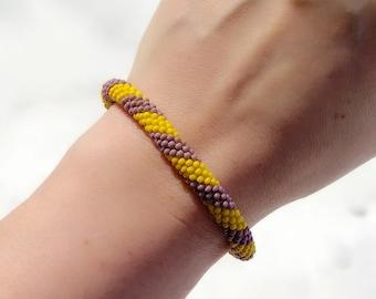 Beaded Bracelet - Roll On Style - Yellow Light Purple - Native American - Beaded Rope Bracelet - Boho Chic -Powwow Style