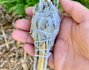 "White Sage and Palo Santo Smudge Stick - Sold Individually - 4"" - Organic - Fair Trade"