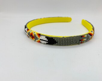 Native American Beaded Headband Gray Handmade