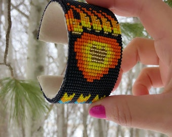 Native American Beaded Cuff Bracelet - Handmade - Glass Beads - Bear Paw Design - Buckskin Suede - Adjustable Sizing - Beadwork