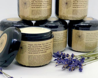 Lavender Organic Body Cream - Vegan Lotion - Whipped Body Butter - Therapeutic Grade Essential Oils