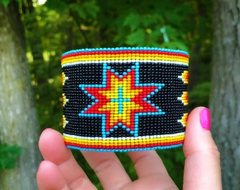 Beaded Cuff Bracelet - Native American - Handmade - Glass Beads - Buckskin Suede - Adjustable Cuff - Wide Width - Beadwork