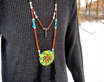 Beaded Medallion Necklace - Native American - Turquoise - Buffalo Bone - Lakota Beadwork - Sage Blessed - (ww6)