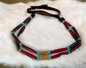 Buffalo Bone Choker - Native American Necklace - Traditional Sioux - Sage Blessed - Tribal - Boho Jewelry - Pow Wow Regalia - Indigenous