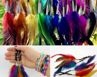 Feather Hair Clips - Buffalo Bone Beads - Horse Mane Feathers- Native American Hair Feathers - Variety of Colors -