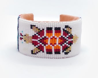 Beaded Turtle Cuff Bracelet - Native American - Adjustable - Buckskin - Lakota - Beadwork