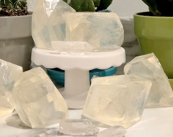 Quartz Crystal Energy Soap - Vegan Skincare - Raw Quartz Crystal Point