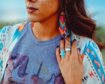Native American Beadwork - Beaded Earrings - Dark Pink- Native American Earrings - Boho Jewelry - Powwow Regalia - Beaded Earrings