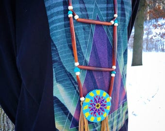 Beaded Medallion Necklace - Native American - Sage Blessed - Buckskin Fringe - Lakota - Sioux - (ww119)