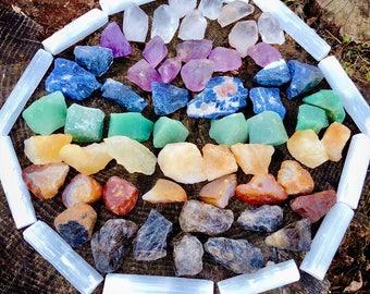 Chakra Healing Stones Set - 7 Large Chakra Crystals - Raw Crystals - Raw Chakra Set - Reiki - Chakras - Metaphysical