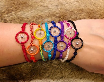 Dreamcatcher Bracelet - Sold Individually - Friendship Bracelet - Raksha Bracelet - Woven Bracelet - Dream Catcher Bracelet - You Choose Col