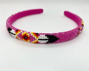 Native American Beaded Headband Pink Handmade