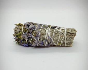 "Blue Sage and Blue Sinuata Smudge Stick - 4"" - Organic Sage"