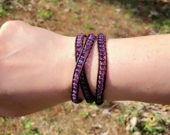 Amethyst Wrap Bracelet - Adjustable Sizing - Boho Chic - Sage Blessed - Amethyst Bracelet