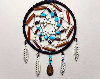 Native American Dreamcatcher - Sage Blessed - Smoked Buckskin - Buffalo Bone Carved Beads - Turquoise - Bone Feathers