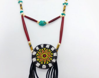 Breastplate Necklace - Native American - Beaded Medallion -  - Buffalo Bone Beads - Turquoise -Handmade (ww111)