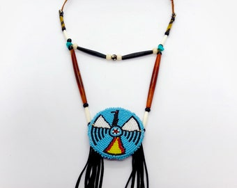 Native American Beaded Medallion Necklace - Turquoise - Buffalo Horn & Buffalo Bone Beads - Sage Blessed - Sioux - (ww108)