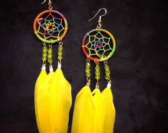 Dreamcatcher Earrings - Yellow and Rainbow - Native American - Rainbow Earrings - Handmade