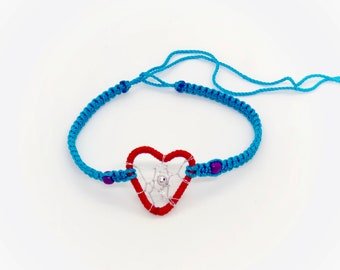 Heart Dreamcatcher Friendship Bracelet - Blue and Red - Handmade - Dreamcatcher Bracelet