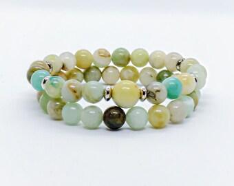Amazonite Bracelets - Two Bracelet Set - His & Hers - Genuine Amazonite Crystal - Sage Blessed