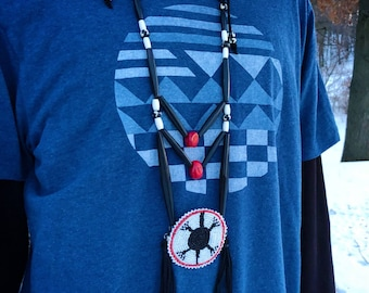 Beaded Turtle Medallion Necklace - Breastplate - Native American - Sage Blessed - Buffalo Horn & Bone Beads - (ww115)