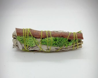 "White Sage Phalaris Grass and Red Birch Smudge Stick - 4"" - Organic"