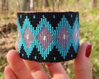 Beaded Cuff Bracelet - Native American - Handmade - Blue Black Silver - Adjustable - Sage Blessed - Buckskin