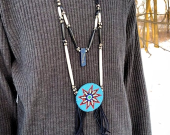 Beaded Medallion Necklace - Native American - Lapis Lazuli - Sage Blessed - Lakota Beadwork - Buckskin - Buffalo Bone (ww3)