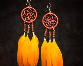 Dreamcatcher Earrings - Orange - Handmade - Native American - Natural Feathers