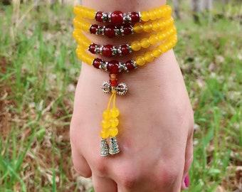 Yellow Chalcedony Agate Wrap Bracelet - 108 Beads - Mala Bracelet - Genuine Crystal Bracelet - Red Carnelian Agate