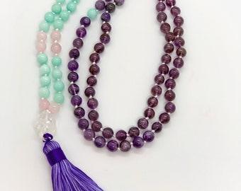 Crystal Necklace - Amethyst - Rose Quartz - Aquamarine - Clear Quartz - Handmade Mala Necklace - Long Length - Chakra Necklace
