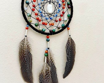 Dreamcatcher - Authentic Native American - Buckskin - Jasper - Fire Agate - Blue Aventurine - Quarts Cluster