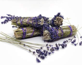 White Sage & Lavender Smudge Bundles - Sold Individually - Organic - Lavendula Angustifolia - Ceremonial Smudging