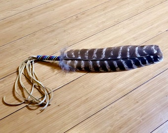 Beaded Smudge Feather - Prayer Feather - Beadwork - Buckskin Fringe - Native American