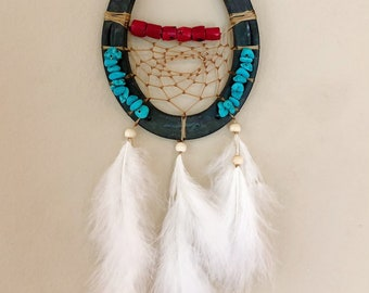 Horseshoe Dreamcatcher - Buffalo Bone - Coral - Real Horseshoe - Turquoise - Native American - Sage Blessed - Equine Decor