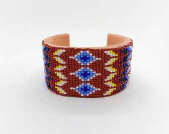 Beaded Cuff Bracelet - Native American - Handmade - Adjustable Size - Buckskin Suede - Glass Beads - Native American Beadwork - Sioux