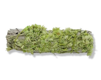 """White Sage and Green Mullein Smudge Stick - 4"""" - Organic"""
