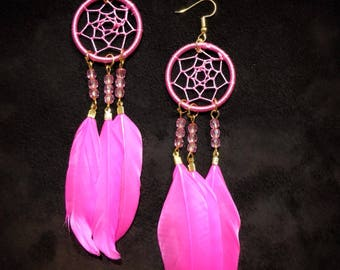 Dreamcatcher Earrings - Pink - Natural Feathers - Handmade Dreamcatcher Earrings