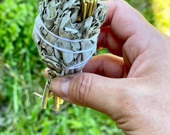 White Sage and Sweetgrass Smudge Stick - Sold Individually - Organic - Native American