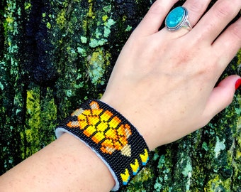 Turtle Beaded Cuff Bracelet - Buckskin - Adjustable Size - Black - Handmade Beaded Bracelet - Native American - Beadwork