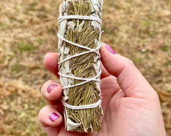 "Rosemary and White Sage Smudge Sticks - 4"" - Sold Individually"