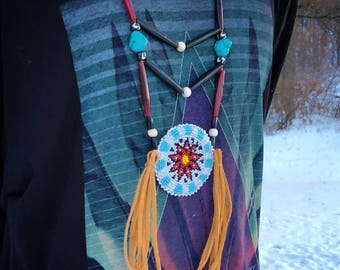 Beaded Medallion Necklace - Native American - Sage Blessed - Buckskin - Buffalo Horn & Buffalo Bone Beads - Turquoise - (ww107)
