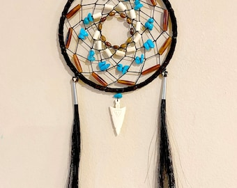 Native American Dreamcatcher - Sage Blessed - Smoked Buckskin - Genuine Horse Hair - Buffalo Bone Carved Beads - Turquoise - Bone Arrowhead