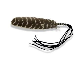 Beaded Smudge Feather -Turkey Feather - Buckskin Fringe - Prayer Feather - Beadwork - Native American