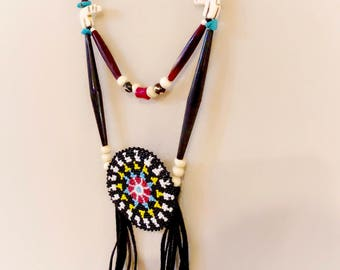 Beaded Medallion Necklace - Authentic Native American - Zuni Bear - Buffalo Horn - Sage Blessed - Powwow Bling (ww132)
