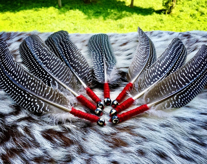 Featured listing image: Smudge Feather - Prayer Feather - Sold Individually - Wrapped with Wool Yarn - Buffalo Bone Bead - Native American - Smudging - Ceremonial
