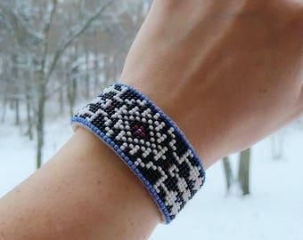 Native American Jewelry - Beaded Cuff Bracelet - Adjustable Sizing - Glass Beads - Handmade - Buckskin Leather - Native American Beadwork