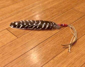 Beaded Smudge Feather - Native American - Turkey Feather - Beadwork - Buckskin - Prayer Feather