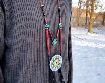 Native American Beaded Medallion Necklace - Buffalo Bone - Jasper Stone - Turquoise - Buckskin - Sage Blessed (ww2)