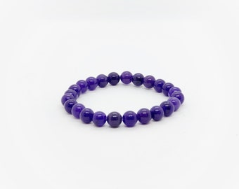 Amethyst Bracelet - Genuine Crystals - Heavy Duty Elastic - Chakra Bracelet